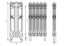 Dragonfly Cast Iron Radiator, specifications